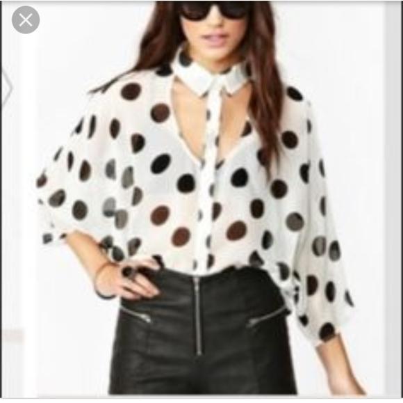 NASTY GAL polka dot cutout shirt